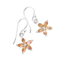 Sterling Silver Sparkling Crystal Wild Flower Earrings, Champagne