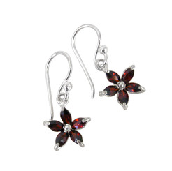 Sterling Silver Sparkling Crystal Wild Flower Earrings, Red