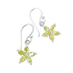 Sparkling Crystal Wild Flower Earrings, Light Green