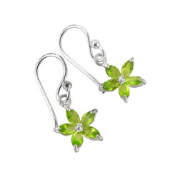 Sparkling Crystal Wild Flower Earrings, Spring Green