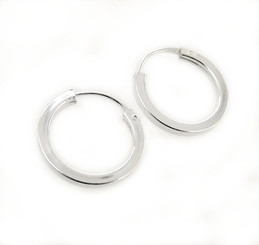 Sterling Silver Square-Shaped Tube Hoop Earrings, 9/16""