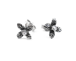 Sterling Silver Crystal Four Petals Flower Stud Post Earrings