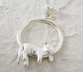 Sterling Silver Napping Cat Pendant Necklace