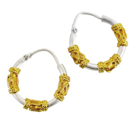 Gold Plated Sterling Silver Gold and Silver Bali Style Hoop Earrings