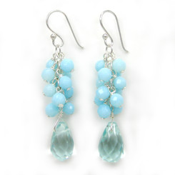 Sterling Silver Cultured Freshwater Pearl Cluster Crystal Teardrop Earrings, Aqua