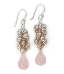 Sterling Silver Cultured Freshwater Pearl Cluster Crystal Teardrop Earrings, Pink