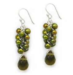 Sterling Silver Cultured Freshwater Pearl Cluster Crystal Teardrop Earrings, Smoky & Olive