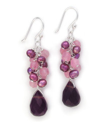 Sterling Silver Cultured Freshwater Pearl Cluster Crystal Teardrop Earrings, Purple Combo