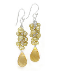 Sterling Silver Cultured Freshwater Pearl Cluster Crystal Teardrop Earrings, Yellow