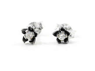 Sterling Silver Crystal Flower Post Earrings
