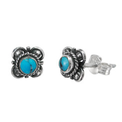 Sterling Silver Stone Inlay Kyleen Stud Post Earrings, Turquoise