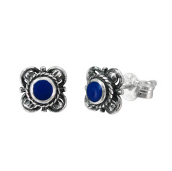 Sterling Silver Stone Inlay Kyleen Stud Post Earrings, Lapis Lazuli