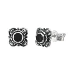 Sterling Silver Stone Inlay Kyleen Stud Post Earrings, Onyx