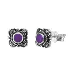 Sterling Silver Stone Inlay Kyleen Stud Post Earrings, Sugilite