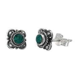 Sterling Silver Stone Inlay Kyleen Stud Post Earrings, Malachite