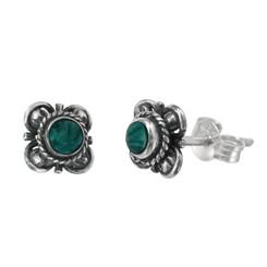 Sterling Silver Stone Inlay Kyleen Stud Post Earrings, Malachite