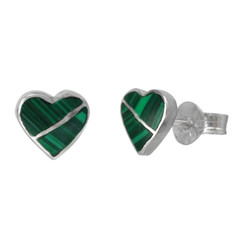 Sterling Silver Heart Section Stone Inlay Stud Post Earrings, Malachite
