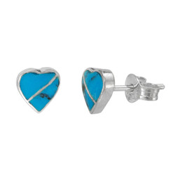 Sterling Silver Heart Section Stone Inlay Stud Post Earrings, Turquoise