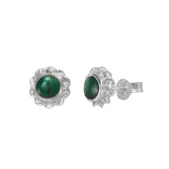 Sterling Silver Stone Inlay Twist Frame Moreen Stud Post Earrings, Malachite