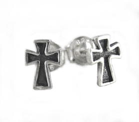Sterling Silver Biker Cross Stud Post Earrings
