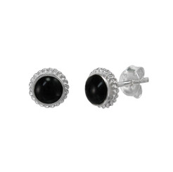 Sterling Silver Stone Inlay Coil Twist Frame Stud Post Earrings, Onyx
