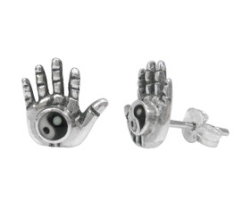 Sterling Silver Yin Yang Hand Stud Post Earrings