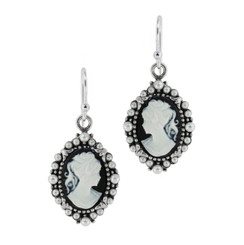 Sterling Silver Resin Cameo Bead Frame Elizabeth Earrings, Black
