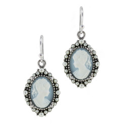 Sterling Silver Resin Cameo Bead Frame Elizabeth Earrings, Blue