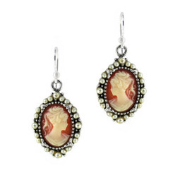 Sterling Silver Resin Cameo Bead Frame Elizabeth Earrings, Salmon