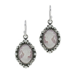 Sterling Silver Resin Cameo Bead Frame Elizabeth Earrings, Lavender