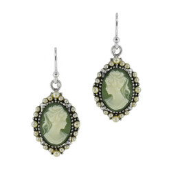 Sterling Silver Resin Cameo Bead Frame Elizabeth Earrings, Green