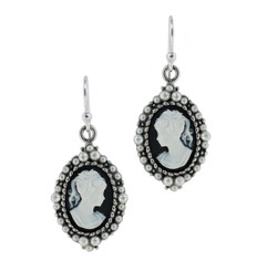 Sterling Silver Resin Cameo Bead Frame Florence Earrings, Black