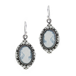 Sterling Silver Resin Cameo Bead Frame Florence Earrings, Blue