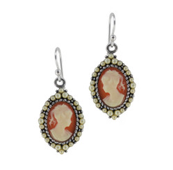 Sterling Silver Resin Cameo Bead Frame Florence Earrings, Salmon