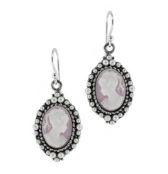 Sterling Silver Resin Cameo Bead Frame Florence Earrings, Lavender