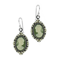 Sterling Silver Resin Cameo Bead Frame Florence Earrings, Green