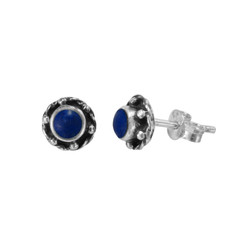 Sterling Silver Stone Inlay Helene Stud Post Earrings, Lspis Lazuli