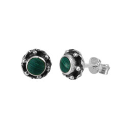 Sterling Silver Stone Inlay Helene Stud Post Earrings, Malachite