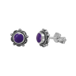 Sterling Silver Stone Inlay LuAnne Stud Post Earrings, Sugilite