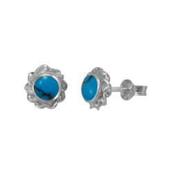 Sterling Silver Stone Inlay Twist Frame Moreen Stud Post Earrings, Turquoise