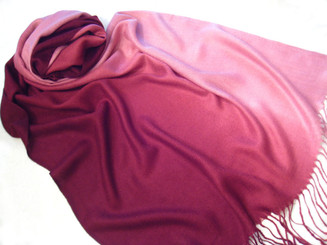 Pashmina and Silk Blend Gradation Colorful Scarf Shawl, Burgandy