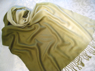 "Pashmina Scarf Shawl Color Gradiant, Approx 27""W - 77""L Green"