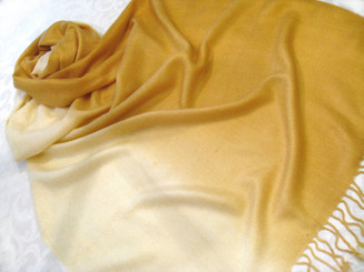 "Pashmina Scarf Shawl Color Gradiant, Approx 27""W - 77""L Gold"