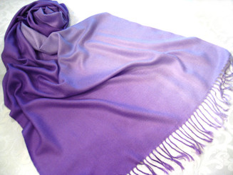 Pashmina and Silk Blend Gradation Colorful Scarf Shawl, Purple