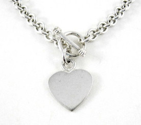 Sterling Silver Heart Charm Toggle Link Necklace
