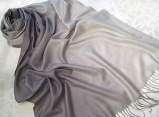 "Pashmina Scarf Shawl Color Gradiant, Approx 27""W - 69""L Gray"