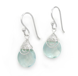 Briolette Stone Drop Coil and Spiral Wrapped Sterling Silver Earrings, Aqua