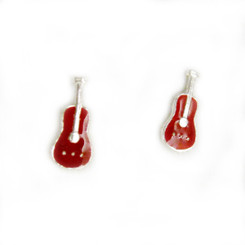 Sterling Silver Red Enamelled Guitar Stud Post Earrings