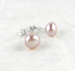 Sterling Silver 6-8mm Cultured Pearl Stud Post Earrings, Pink