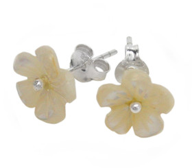 Mother of Pearl Carved Flower Sterling Post Earrings, Cream